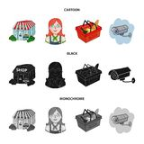 Salesman, woman, basket, plastic .Supermarket set collection icons in cartoon,black,monochrome style vector symbol stock. Illustration Royalty Free Stock Photo
