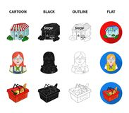 Salesman, woman, basket, plastic .Supermarket set collection icons in cartoon,black,outline,flat style vector symbol. Stock illustration Royalty Free Stock Photos