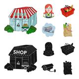 Salesman, woman, basket, plastic .Supermarket set collection icons in cartoon,black style vector symbol stock. Illustration Stock Images