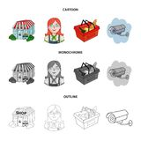 Salesman, woman, basket, plastic .Supermarket set collection icons in cartoon,outline,monochrome style vector symbol. Stock illustration Royalty Free Stock Photo