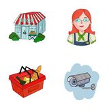 Salesman, woman, basket, plastic .Supermarket set collection icons in cartoon style vector symbol stock illustration web. Salesman, woman, basket, plastic Stock Photos