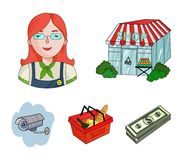 Salesman, woman, basket, plastic .Supermarket set collection icons in cartoon style vector symbol stock illustration web. Salesman, woman, basket, plastic Royalty Free Stock Image