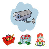 Salesman, woman, basket, plastic .Supermarket set collection icons in cartoon style vector symbol stock illustration web Royalty Free Stock Image