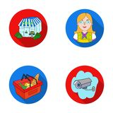 Salesman, woman, basket, plastic .Supermarket set collection icons in flat style vector symbol stock illustration web. Royalty Free Stock Image
