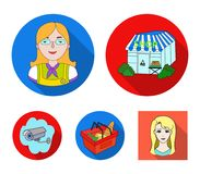Salesman, woman, basket, plastic .Supermarket set collection icons in flat style vector symbol stock illustration web. Salesman, woman, basket, plastic Royalty Free Stock Images