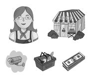 Salesman, woman, basket, plastic .Supermarket set collection icons in monochrome style vector symbol stock illustration.  Royalty Free Stock Images