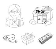 Salesman, woman, basket, plastic .Supermarket set collection icons in outline style vector symbol stock illustration web. Salesman, woman, basket, plastic Royalty Free Stock Photography