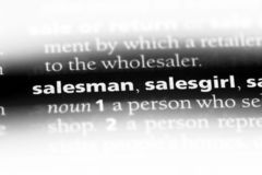 Salesman. Word in a dictionary.  concept stock photo