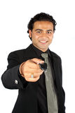 Salesperson Giving Keys Royalty Free Stock Photography