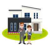 Salesperson of housing. Vector illustration.Original paintings and drawing stock illustration