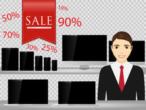 Salesperson at supermarket, selling computer, smartphone, laptop, tablet. Sales technology devices. Royalty Free Stock Photos