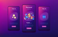 Personalized selling app interface template. Salesperson trying to persuade customer in buying product. Personal selling, face-to-face selling technique, sales royalty free illustration