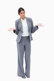 Saleswoman being clueless stock photo
