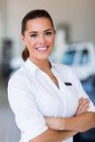 Saleswoman car dealership Royalty Free Stock Photo
