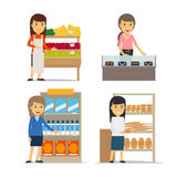 Saleswoman at the counter vector Stock Photos