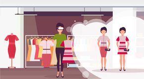 Saleswoman holding dress wearing digital glasses virtual reality girls buyers headset vision concept female clothes stock photos