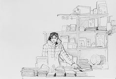 Saleswoman in outdoor bookstore with books original pen illustra. Tion etching sketch Stock Images