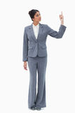 Saleswoman pointing up Royalty Free Stock Image