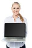 Saleswoman presenting brand new laptop Stock Photo