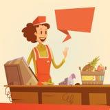 Saleswoman Retro Illustration Stock Photo