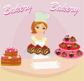 Saleswoman serving chocolate cakes Royalty Free Stock Photography