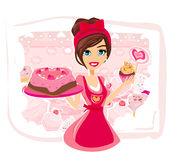 Saleswoman serving chocolate cakes Royalty Free Stock Photos