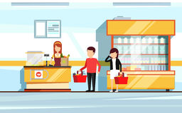 Saleswoman in supermarket interior. People standing in store checkout line. Vector flat illustration of mall Royalty Free Stock Photos