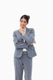 Saleswoman in thoughts. Against a white background Stock Images