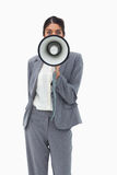 Saleswoman using megaphone Stock Images