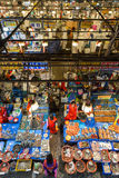 Saleswomen and seafood at Noryangjin Fish Market viewed from above Stock Photography