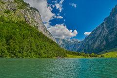 Saletalm - Final Stop of Boat Cruise on Konigsee Lake. Starting point for a walk to Obersee Lake stock photo