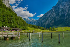 Saletalm - Final Stop of Boat Cruise on Konigsee Lake. Starting point for a walk to Obersee Lake royalty free stock photography