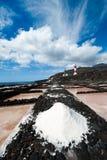 Salez les étangs d'évaporation et les phares, La Palma Images stock