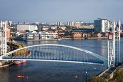 Salford-Kai-Jahrtausend-Brücke Manchester England Lizenzfreie Stockbilder