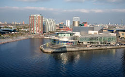 Salford Quays Development, Manchester England. Aerial view of the dockland redevelopment at Salford Quays, with the Lowry Theatre prominent. Greater Manchester royalty free stock photos