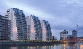 Salford Quays at dusk stock photography