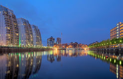 Salford Quays at dusk Royalty Free Stock Photography