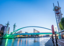 Salford quays lift bridge in Manchester Royalty Free Stock Images