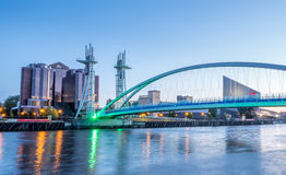 Salford quays lift bridge in Manchester Royalty Free Stock Photography
