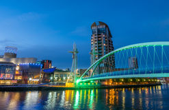 Salford quays lift bridge in Manchester Stock Photos