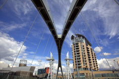 Salford Quays in Manchester. View of modern buildings from the bridge at Salford Quays in Manchester Stock Photography