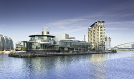 Salford Quays Manchester. Salford Quays in Manchester with Media City on the same site royalty free stock photo