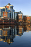 Salford Quays - Manchester - United Kingdom. Modern waterside office buildings at Salford Quays in Greater Manchester in the United Kingdom stock images
