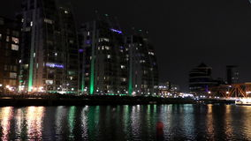 Salford quays at night stock video