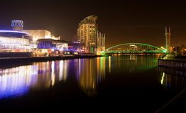 Salford quays at night, Lowry and millennium bridge, blurred reflection on the water, Manchester UK royalty free stock photography