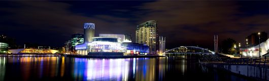 Salford Quays at night stock photography