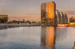 Salford Quays przy zmierzchem zdjęcia stock