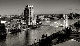 Salford Quays Suspension Bridge. A black & white image of Salford Quays Suspension Bridge, as photographed from the top of The Imperial War Museum stock photos
