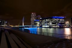 Salford Quays Theatre, Manchester. Salford Quays manchester media city Bridge Stock Image