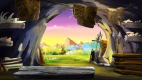 Salga de la cueva de piedra stock de ilustración